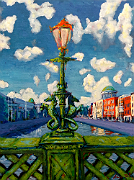A Hippocampus lamp on Grattan Bridge at Capel Street in Dublin looking west along its River Liffey
