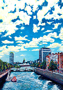 Clouds above Dublin's city centre and its River Liffey