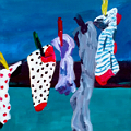 Painting socks on washing line