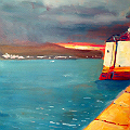 Harbour setting sun painting