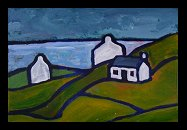 painting of Irish landscape with 3 cottages and fields of green