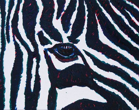 painting of a stripey donkey close up, the eye area mostly