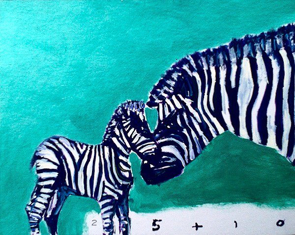 painting of a baby zebra and a parent