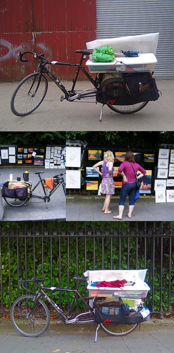photos of my bicycle with the xtracycle extension, as it handled the transport for a show of paintings