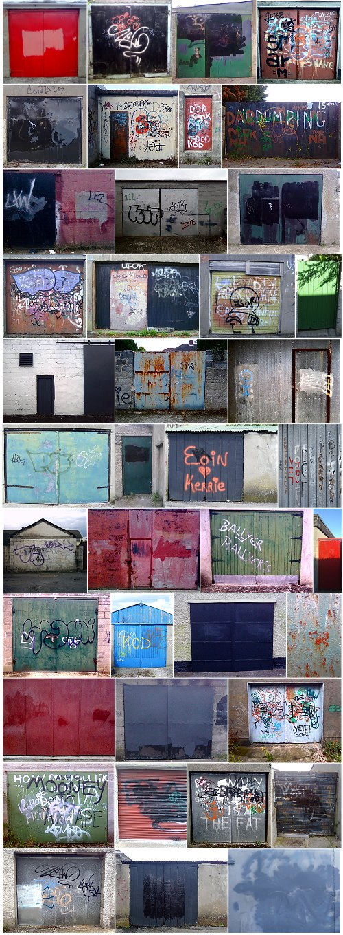 Photos of mostly garage doors in the back lanes of Dublin