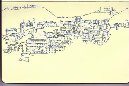ink drawing in sketchbook og Genoa