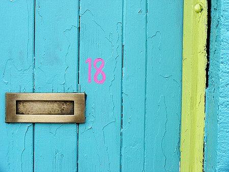 Close up of garishly painted Dublin door