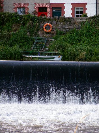 Weir on the Liffey at Lucan in Dublin, Ireland