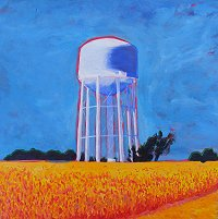 painting of Water Tower in American midwest