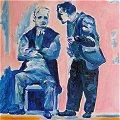 Painting of 2 men conversing, 1 seated, 1 standing