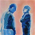Painting of 2 men standing conversing