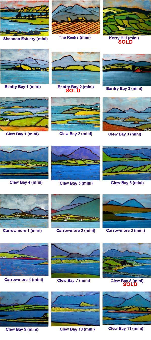 21 miniature landscape original paintings of Ireland