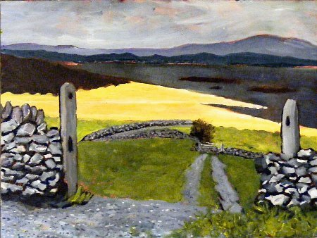 painting of a coastal scene in Ireland in and around where Mayo and Connemara meet