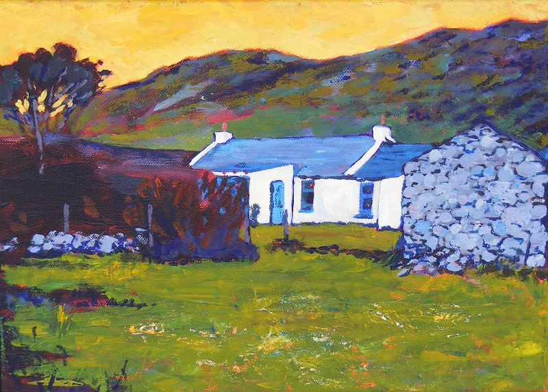 Irish Whitewashed Cottage Seen From Sheepfield To The Front