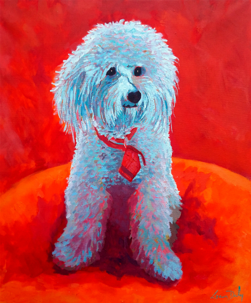 painting of Lucky the dog