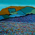 Painting of a hill, with fields, and a bog