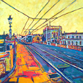 Painting of Dublin's Heuston Station and Bridge