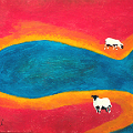 Painting of a landscape with 2 sheep by a blue pool