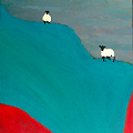 Painting of a landscape with 2 sheep