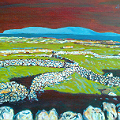 Painting of Stone Walls, and grass - that's green - in the west of Ireland