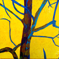 Painting of a tree against a yellow background