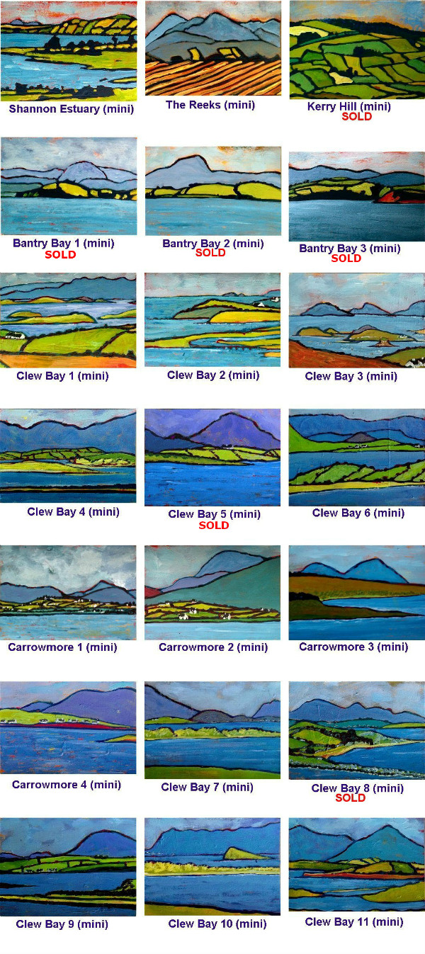 Miniature Landscape Paintings of Ireland incl Clew Bay, Bantry Bay and Carrowmore Lake