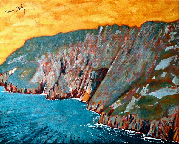 painting of Slieve League cliffs in County Donegal