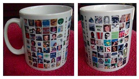 Both sides of my twitter follower mug