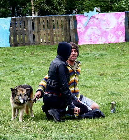 Knockan Stockan Music Festival people and dog