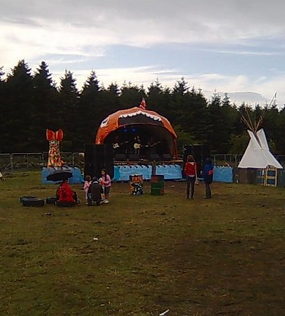 Knockan Stockan Music Festival fish stage after rain