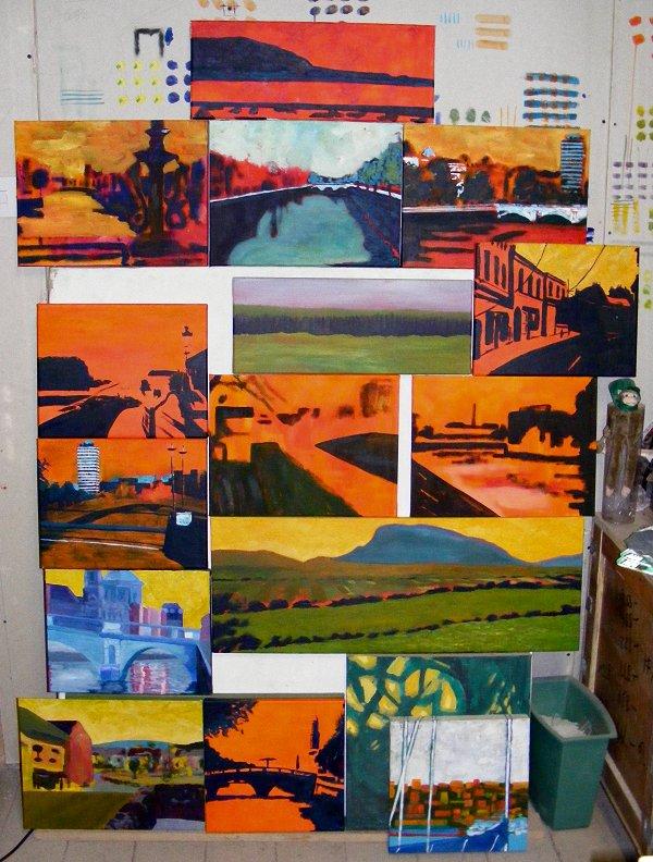 wall of paintings in progress, June 2010